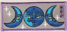 """Retro patch '""""FULL MOON w/ 2 HALF- MOON FACES"""" embroidered emblem, PH207"""