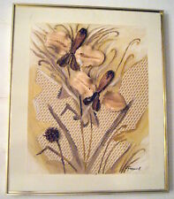 VINTAGE PAINTING COLLAGE 3D DRAGON FLIES FLOWERS C. FREDERICK