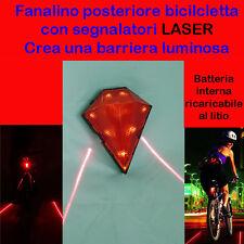 FANALINO POSTERIORE luce ROSSA PER BICICLETTA CON LASER LUCE BICI BIKE LIGHT