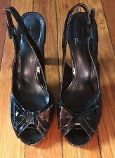 Linea Paolo Size 6 Black Patent Leather Bow Slingback Peep Toe Heels