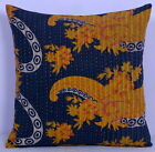 "16"" KANTHA DECORATIVE PILLOW CUSHION COVER THROW Indian Floral Embroidered Toss"