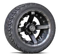 (4) Fairway Alloys 12 x 7 Battle Golf Cart Car Rim Wheel & EFX Low Profile Tires