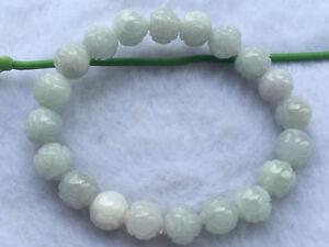 Certified Natural A Grade Jade 10mm Jadeite Carving Beads Men&Women Bracelet  A
