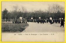 cpa de 1900 PARIS Bois de Boulogne COURSES de CHEVAUX Pari Turf Joueurs Soldats