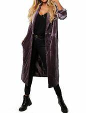 New ASOS Women Ladies Purple Quilted Velvet Midi Longline Coat Size 4 6 8 10 12