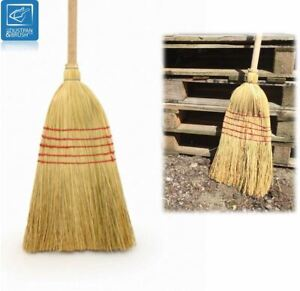 TRADITIONAL WOODEN STRAW CORN BROOM GARDEN SWEEPING STABLE YARD BRUSH