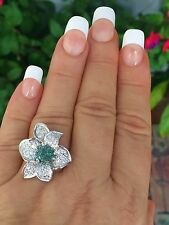 18K GOLD 3.34 CT GIA CERTIFIED GREEN TO PURPLE ALEXANDRITE DIAMOND FLOWER RING!!