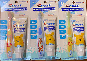 3 Disney Baby Crest Training Toothpaste Kit W/Toothbrush Fluoride Free 1.6oz Ea.