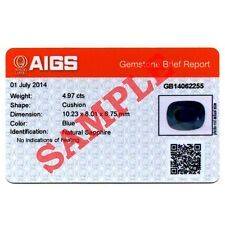 AIGS Gemstone Identification Card Report With Photo