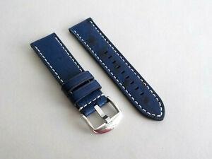 Echt Strauss Noppen Uhrenarmband mit Kontrastnaht - 24mm blau - für Apple Watch