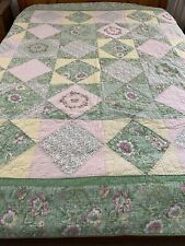 "Vintage Hand Crafted & Quilted Patchwork & Ribbon Flowers QUILT 90"" x 88"" Queen"