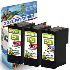 3er Set Druckerpatronen Wowserie für Lexmark 32 + 33 XL P6240 P6260 P6270 P6280