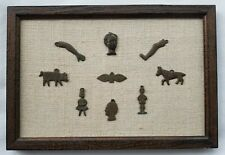 9 Bronze Early Spanish/Iberian/Central American Milagro Charms Mounted in Frame