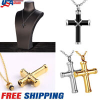 US Men 20inch Cremation Urn Ashes Holder Stainless Memorial Cross Necklace Chain
