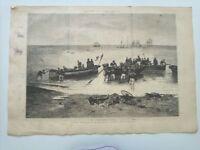 1885 Xilografía: Salon de París El Desembarco cuadro de Berne Bellecour