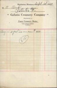1921 Manhattan Montana Receipt Gallatin Creamery Company E Beck