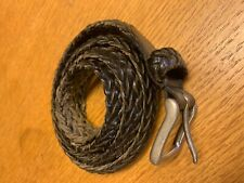 Men's Braided  brown  Leather Belt  Silver Buckle Mens Size 38 USA