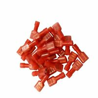 100X Red Female Electrical Fully Insulated Spade Crimp Connector Terminals 1/4""