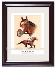 New listing Barbaro - Framed Horse Racing Art equine artist Rohde portrait painting Nice