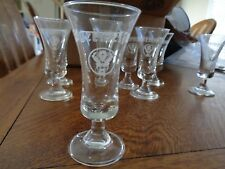 (7) VTG JAGERMEISTER Shot Glass Footed Pedestal Fluted Clear Glass Embossed