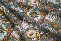 By Yard Indian Hand block Grey Print Running Loose Cotton Fabrics Printed Decor