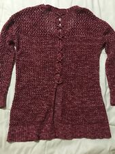 Lucky Brand Red Open Knit Sweater With Cross Tie Back Size Small
