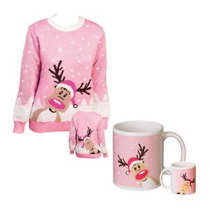 Set: Weihnachtspullover Rentierpulli Damenpulli Weihnachten Pullover + Tasse