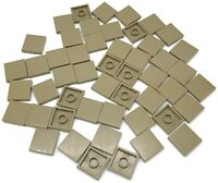 Lego 50 New Dark Tan Tiles 2 x 2 with Groove Flat Smooth Pieces