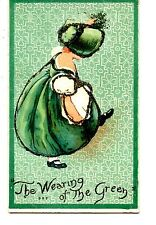 St Patrick's Day Holiday-Sunbonnet Girl in Green Dress-Vintage Glitter Postcard
