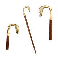 Antique Brass Swan Head bird Handle Brown Wood Walking Stick Cane Vintage Gift