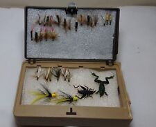 30 Vintage Fly Rod Fishing Flies Lures in Portable Case Frog Cricket Hand Tied