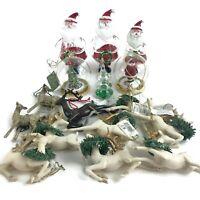 Seasons of Cannon Falls Ornament Lot 16 Santa Reindeer Christmas Tree Glitter