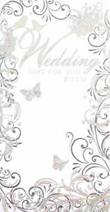 """Wedding Day Money Wallet Gift Card & Envelope - Silver Leaves & Birds 7"""" x 3.5"""""""