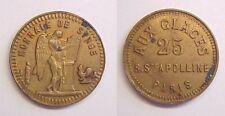 French 22 Millimeter mm 25 Aux Glaces Jeton Monnaie de Singe Hollow AU