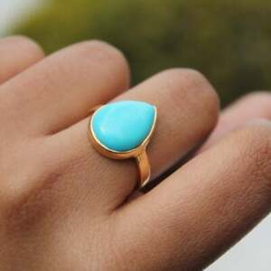 Beauty Turquoise Ring Solitaire Pear Cut 3.Ct 14k Yellow Gold Over Gift For Her