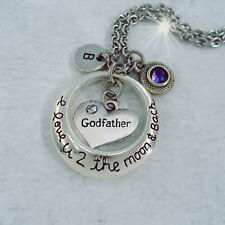 Godfather I Love U 2 the Moon and Back Necklace w-Birthstone, Godfather Gift