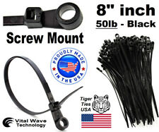 "1000 Screw Hole Mount 8"" inch Wire Cable Ties Nylon Tie Wrap 50lb Black USA Made"