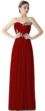 Burgundy Long Prom Evening Dress Formal Gown Bridesmaid Dresses US SZ 10