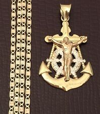 Religious 10k yellow Jesus Cross Anchor Pendant 14k Gold Valentino chain 20 INcH