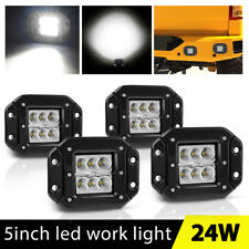 4X 5inch Flush Mount LED Work Lights Flood Bumper Reverse Pods Tractor UTE 4X4WD