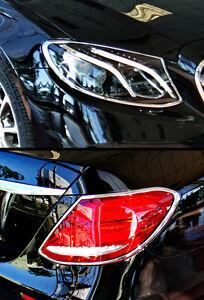 EXPRESS Combo Set CHROME HEAD+REAR LAMP TRIMS for Mercedes Benz E Class W213 AMG
