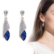 Elegante Sterling mujeres boda Crystal Drop Rhinestone Ear Stud pendientes azul