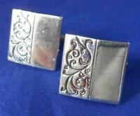 Vintage Swank Silver Tone Scroll Garland Polished Modern Square Cufflinks