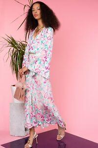 BNWT Rixo Amel Peach Floral Story Maxi Dress With Necktie Sz XS S M L XL