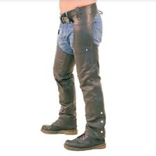 USA Bikers Dream Apparel Black Leather Motorcycle Zip Up Chaps Pants Size 7XL