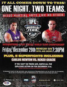 Carlos Newton & Renzo Gracie Signed 2006 IFL 8.5x11 Poster PSA/DNA UFC Pride FC