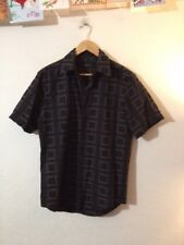 Men's CottonShirt By Vanheusen Size S Black Embroidered Short Sleeve <R16225