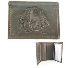 Chicago Blackhawks Black Leather Tri-fold Wallet