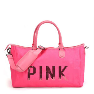 Pink Zipped Fashion Bag Holdall PINK sequin detail Gym Shopping School