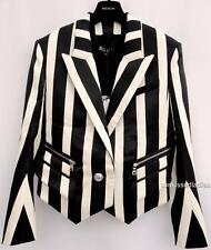 Balmain Double-breasted black cotton blazer FR38 Uk10 Jacket New